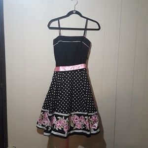 Black cupcake dress with white polka dots